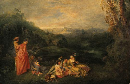 Спокойная любовь (ок.1718) (56 х 81) (Берлин, Дворец Шрлоттенбург)
