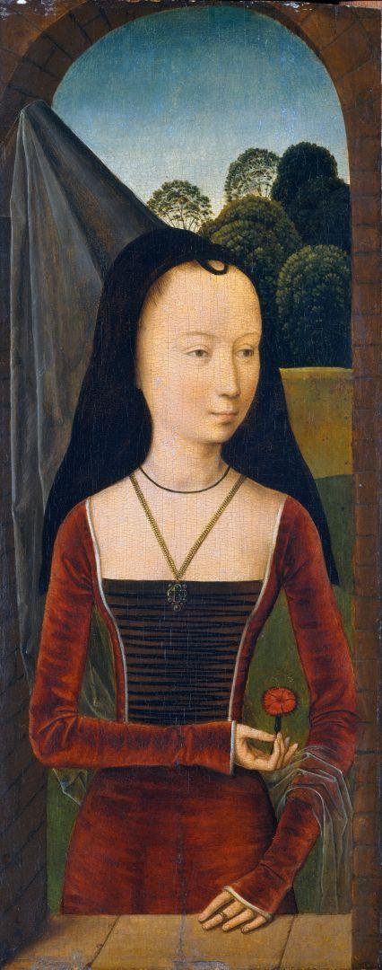 Диптих Аллегория истинной любви. Левая створка. Молодая женщина с гвоздикой (ок.1485-1490) (43.2 x 17.5) (Нью-Йорк, Метрополитен)