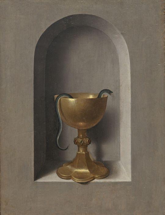 Диптих_Правая створка. Св.Вероника с платом (оборотная сторона). Чаша св.Иоанна Евангелиста (ок.1470-1475) (31.2 x 24.4) (Вашингтон, Нац. галерея)