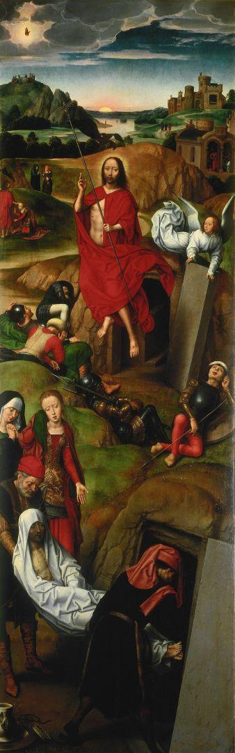 Запрестольный образ 'Страсти Христовы' (открыт)-Правая панель. Положение во гроб и Воскресение Христово (1491) (205 х 75)