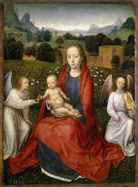 Мадонна с младенцем в розовом саду между двумя ангелами (1480-1490) (36 x 26) (Мадрид, Прадо)
