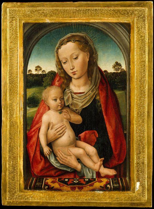 Последователь Мемлинга. Мадонна с младенцем на фоне пейзажа (ок.1487) (31.5 x 20.2) (Нью-Йорк, Метрополитен)