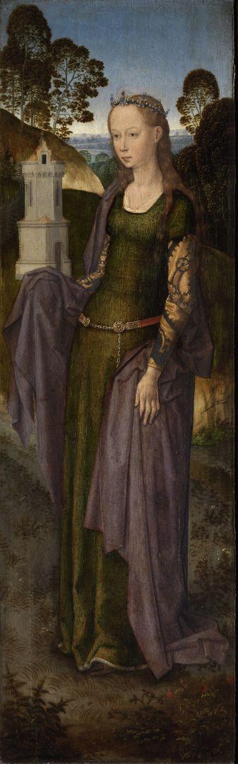 Триптих Адриана Рейна (открыт) (1480)-правая панель. Св.Варвара (45.3 x 14.3)