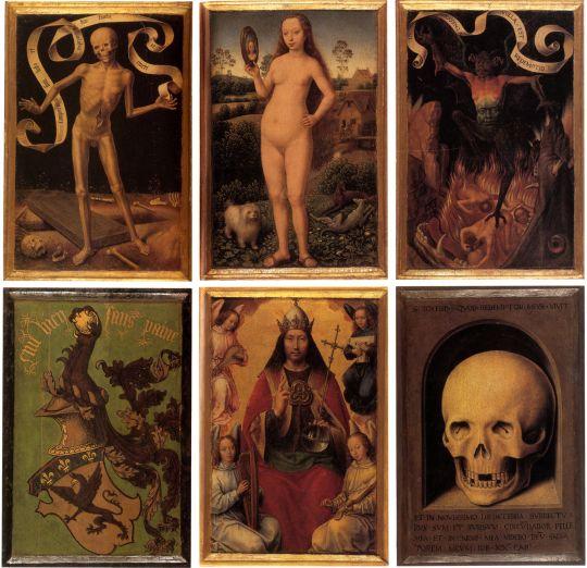 Триптих 'Земное тщеславие и Божественное спасение' (лицевая и оборотная сторона) (ок.1485) (Страсбург, Музей изящ.искусств)