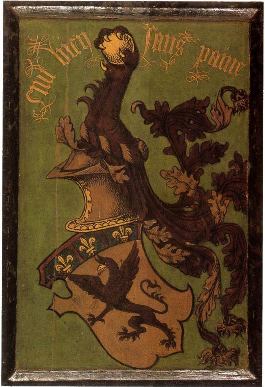 Триптих 'Земное тщеславие и Божественное спасение' (оборотная сторона, левая панель). Кошачья лапа и герб