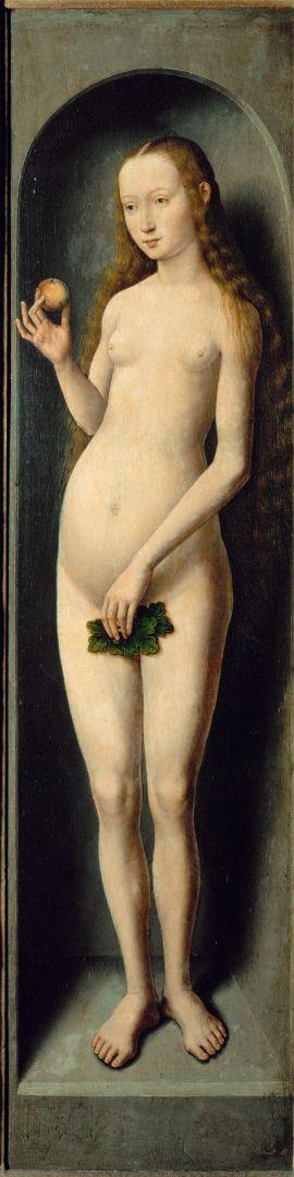 Триптих 'Мадонна с младенцем' (закрыт). Правая панель. Ева (69 x 17)