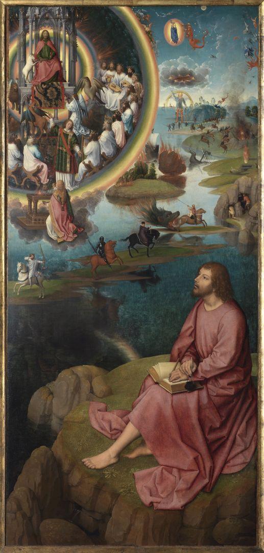 Триптих св.Иоанна Крестителя и св.Иоанна Богослова (1474-1479) (открыт)-Правая панель. Св.Иоанн Богослов на Патмосе