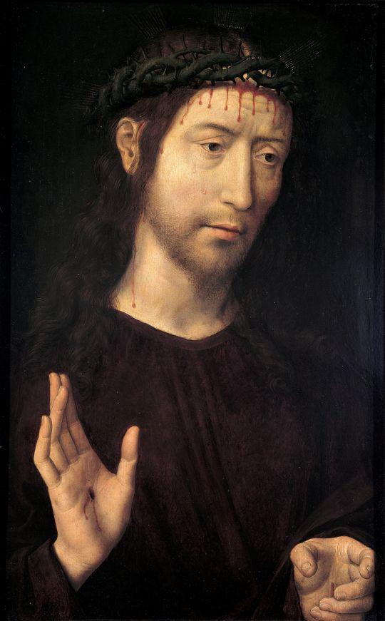 Христос-Страстотерпец (Муж скорбей) (левая створка диптиха) (1480-е) (53.4 x 39,1) (Генуя, Палаццо Бьянко)