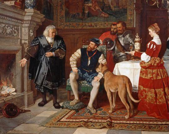 Якоб Фуггер сжигает векселя в присутствии Карла V