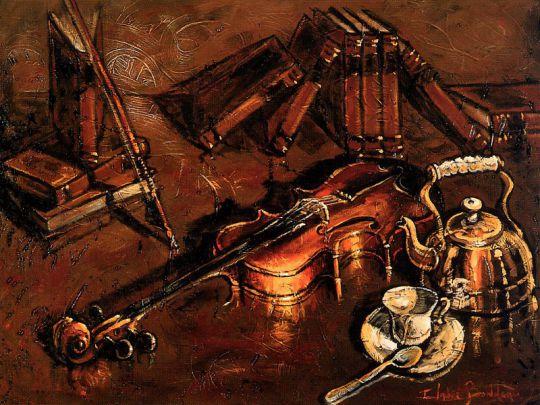 Скрипка в падающем на нее свете
