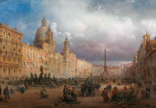 Шумный рынок на площади Навона в Риме [A Bustling Market on the Piazza Navona in Rome]