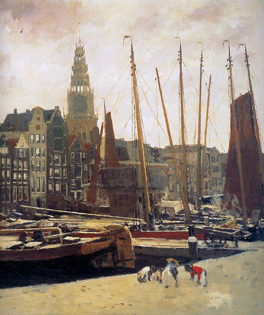 Столпотворение судов у площади Дам в Амстердаме