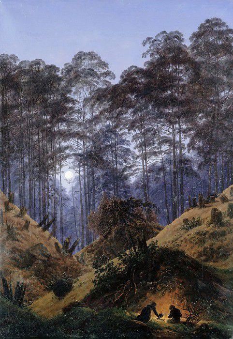 Лес в лунном свете с людьми у костра
