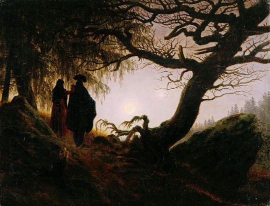 Мужчина и женщина, созерцающие луну