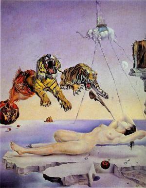 «Сон, вызванный полётом пчелы вокруг граната за секунду до пробуждения», Дали