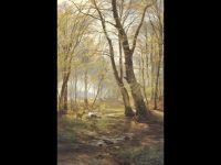 Лесной пейзаж с оленями