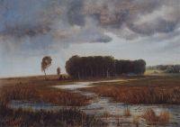 Пейзаж с болотом и лесистым островом.