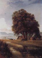 Пейзаж с хутором у озера