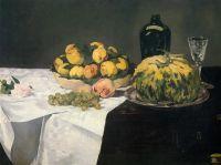 Натюрморт с дыней и персиками