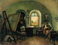 И.И.Шишкин и А.В.Гине в мастерской на острове Валааме.