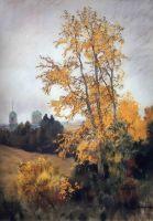 Осенний пейзаж с церковью.