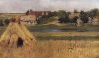 Снопы и деревня за рекой. Начало