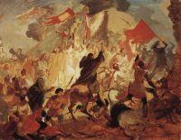 Осада Пскова польским королем Стефаном Баторием в 1581 году.