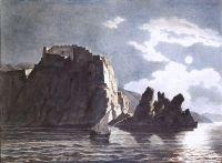 Скалы и луна ночью.