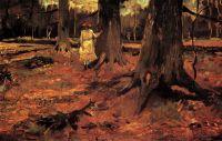 Девочка в белом платье в лесу