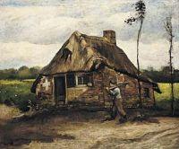 Изба и крестьянин возвращающийся домой