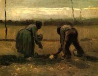 Крестьянин и крестьянка сажающие картофель