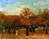Булонский лес с гуляющими людьми