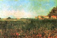 Фермерские дома на пшеничном поле близ Арля