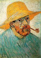 Автопортрет в соломенной шляпе с трубкой