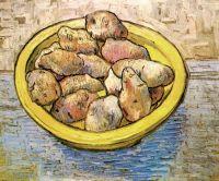 Натюрморт: картофель на желтом блюде