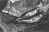 Натюрморт: две копченых селедки