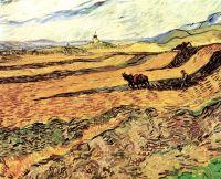 Пахарь на поле и мельница