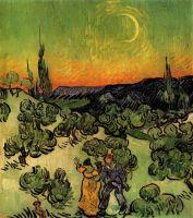 Пейзаж с парой гуляющей по луной