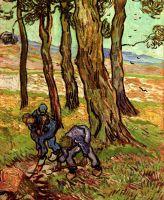 Два капающих крестьянина среди деревьев