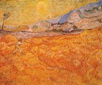 Пшеничное поле со жнецом на рассвете