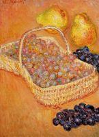 Корзина с виноградом, айвой и грушами