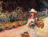 Молодая девушка в саду в Живерни