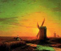 Ветряные мельницы в украинской степи при закате солнца