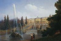 Вид на Большой каскад в Петергофе.