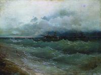 Корабли в бурном море. Восход солнца