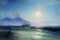 Неаполитанский залив в лунную ночь. Везувий. Начало 1840-х