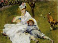 Камиль Моне и ее сына Жана в саду Аржантей