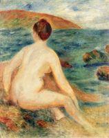 Обнажённая купальщица, сидящая у моря