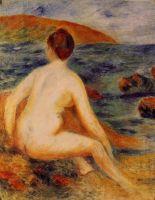Обнажённая купальщица сидящая у моря