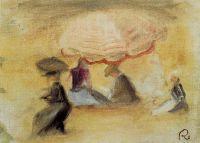На берегу, фигуры под зонтом